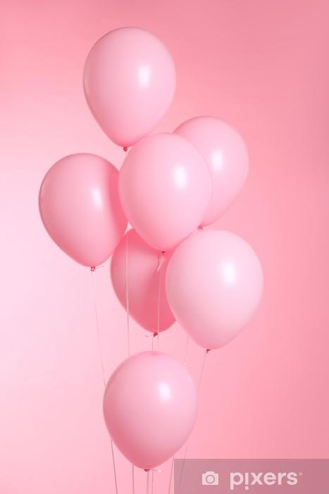 Carta da Parati in Vinile Primo piano di palloncini isolato su sfondo rosa - Hobby e Tempo Libero