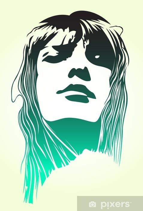 Sticker Pixerstick Portrait de femme art popo - Thèmes