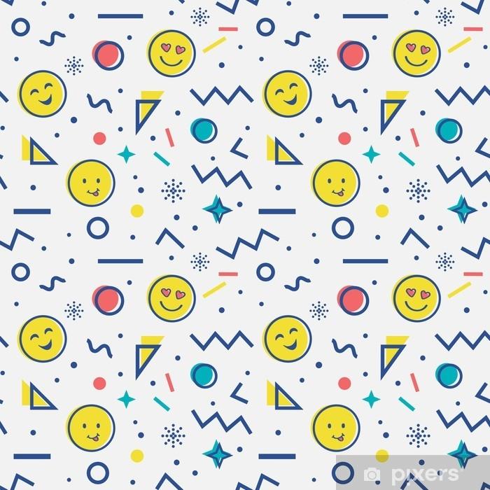 Fototapeta winylowa Wzór z emoji w stylu Memphis. - Zasoby graficzne