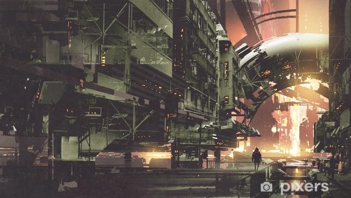 Vinyl Fotobehang Sc.i-FI landschap van cyberpunkstad met futuristische gebouwen, digitale kunststijl, illustratie het schilderen - Landschappen