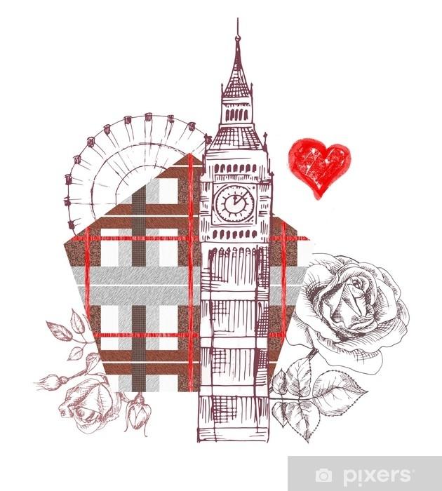 Papier Peint Londres Conception D Affiche Avec Rose Graphique Big