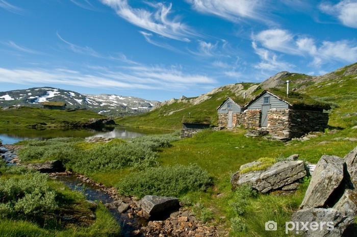 Papier peint vinyle Huttes sur Hardangervidda, Norvège - Europe