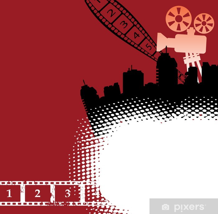 Poster Thème de cinéma avec projection de film et film - Divertissements