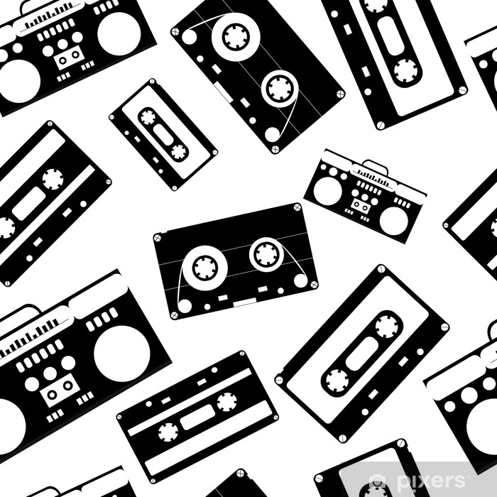 Naklejka Pixerstick Styl nostalgii lat 80. vintage retro lat 80-tych moda wektor wzór. - Hobby i rozrywka