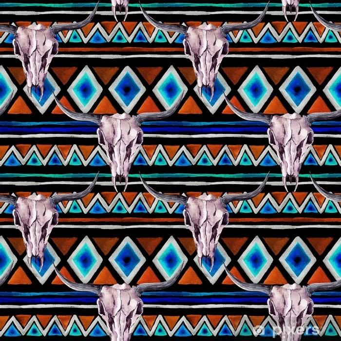 Poster Motif tribal - crâne animal. fond transparent avec un design tribal à la mode. aquarelle - Ressources graphiques