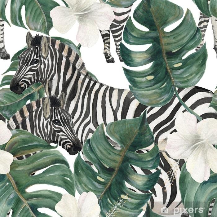 Tropikal Deliciosa Yapraklari Cicekli Melezler Ve Zebra Ile