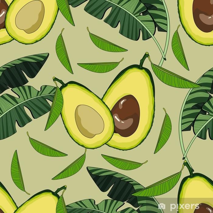 Vinyl Fotobehang Naadloze patroon met avocado en tropische bladeren. vectorillustratie - Eten