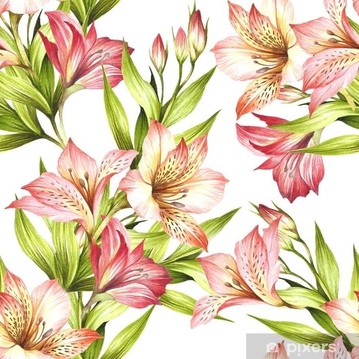 Sticker Pixerstick Modèle sans couture avec alstroemeria. main dessiner illustration aquarelle. - Plantes et fleurs
