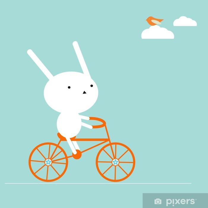 Fotomural Estándar Bunny en una bicicleta - Conejos
