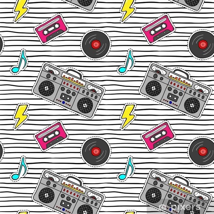 Naklejka Pixerstick Wzór z naklejkami pop-art z magnetofonem, kaseta, płyta winylowa na nowoczesne tekstury z czarnymi paskami. - Hobby i rozrywka