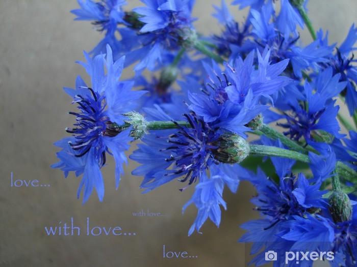Naklejka Pixerstick Karty z niebieskim goździka i słów - z miłością - Kwiaty