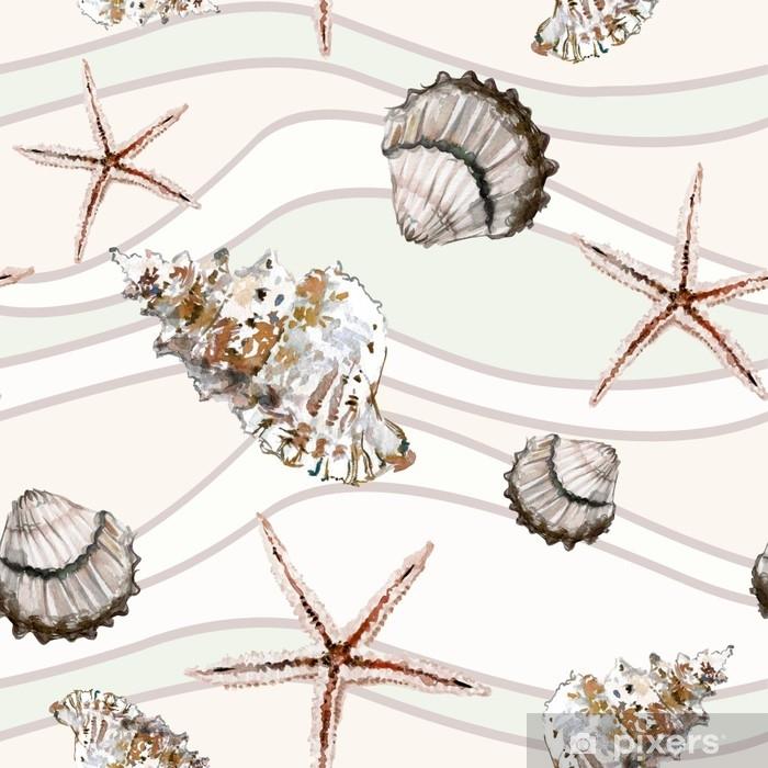 Bej Ve Açık Yeşil Dalgalı çizgilerle Arka Planda Deniz Kabuğu Ve