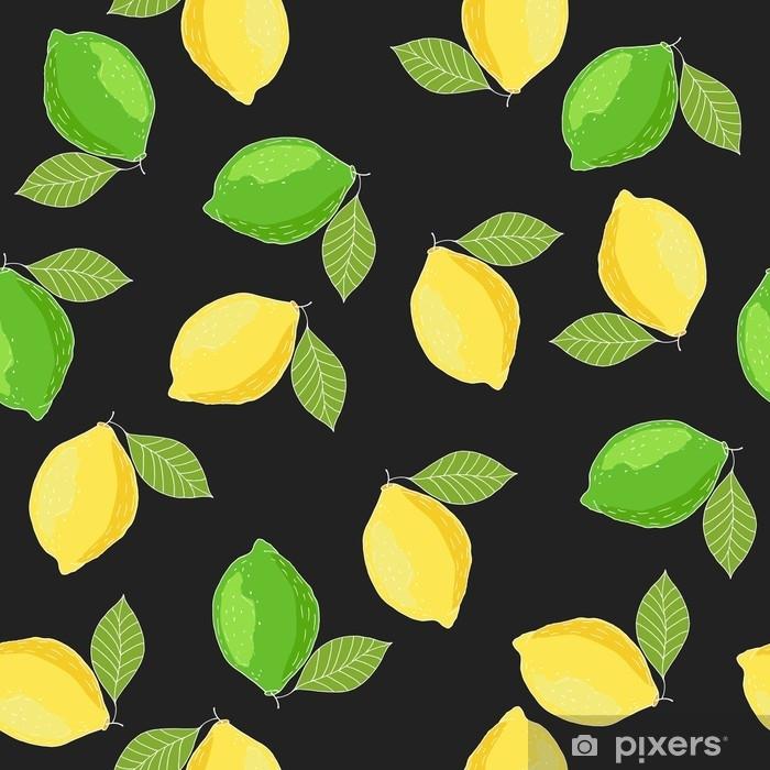 Fototapeta Citrony A Limety Rucne Kreslene Letni Citrus Bezesve