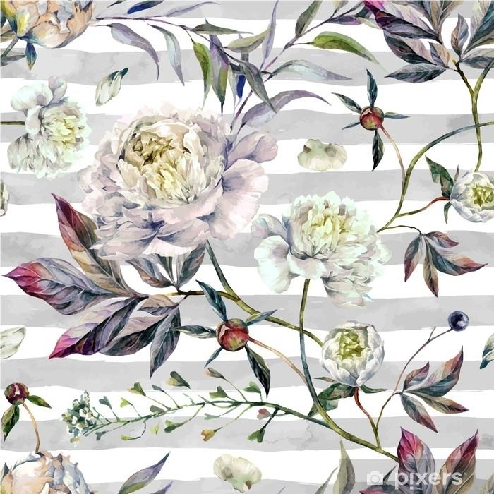 Plakat Akwarela White Peonies Wzorzec - Rośliny i kwiaty