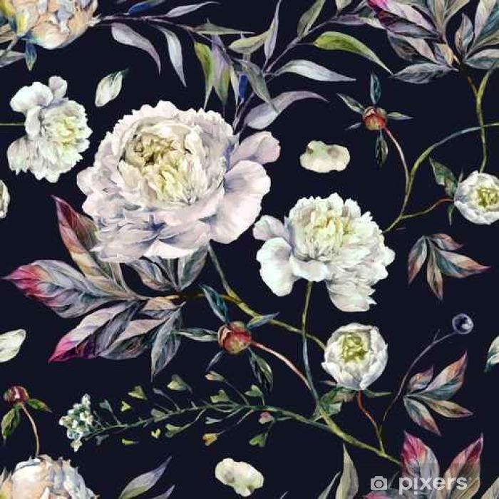 Fototapeta zmywalna Akwarela White Peonies Wzorzec - Rośliny i Kwiaty