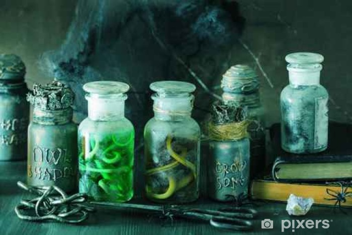 witch apothecary jars magic potions halloween decoration Self-Adhesive Wall Mural - Culture and Religion