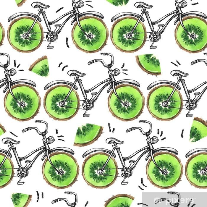 Papier peint vinyle Bicyclettes aquarelle transparente motif avec des roues de kiwi. fond coloré de l'été. . - Sports
