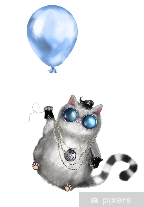Illustration Of A Cute Cat In Rocker Style With Round Glasses And Jewelry Cat Flying On A Blue Balloon Isolated On White Background T Shirt Cool