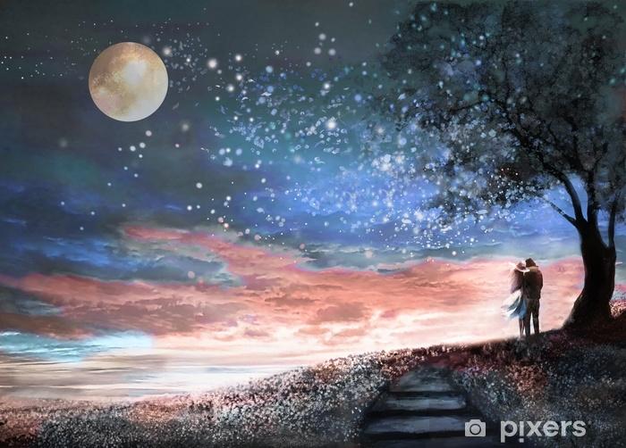 Gece Gokyuzu Ve Milkyway Ile Fantezi Illustrasyon Yildiz Ay