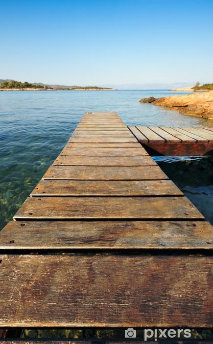Sticker Pixerstick Jetée en bois en Grèce s'étendant dans la mer - Thèmes