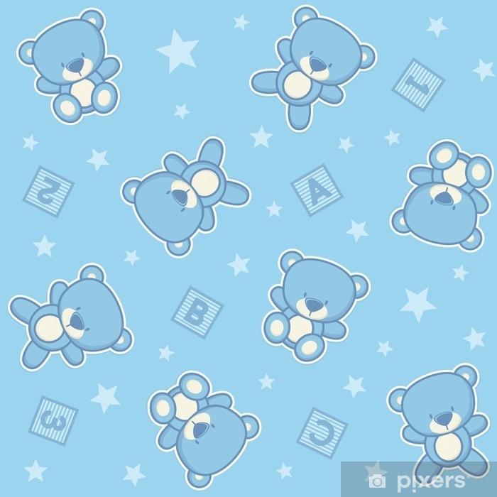 Fototapet av Vinyl Söt nallebjörn sömlös bakgrund med stjärnor och alfabetiska kuber, design för baby pojke och barn - Djur