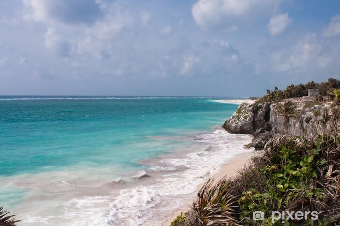 Nálepka Pixerstick Ruiny Tulum a bílé pláži v Mexiku - Amerika
