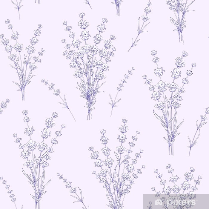 Seamless pattern of lavender flowers on a gray background. Watercolor pattern with Lavender for fabric swatch. Vector illustration. Vinyl Wall Mural - Plants and Flowers