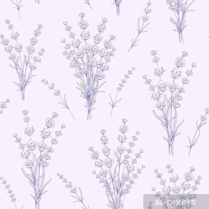 Zelfklevend Fotobehang Naadloze patroon van lavendel bloemen op een grijze achtergrond. waterverfpatroon met lavendel voor stoffenmonster. vectorillustratie - Bloemen en Planten