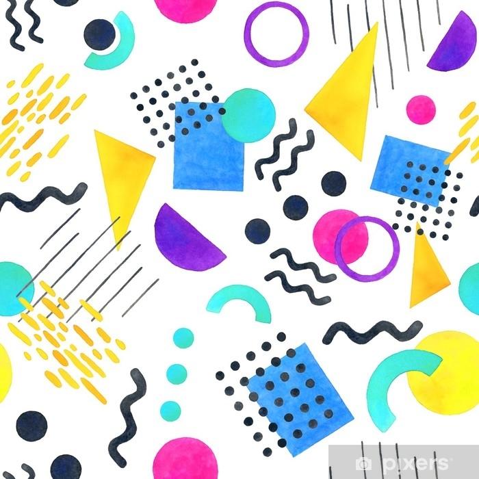 Poster Memphis modèle sans couture de formes géométriques 80's-90's styles sur fond blanc - Ressources graphiques