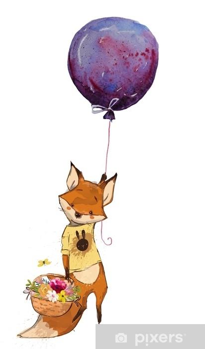 Adesivo simpatico cartone animato volpe volante u2022 pixers® viviamo