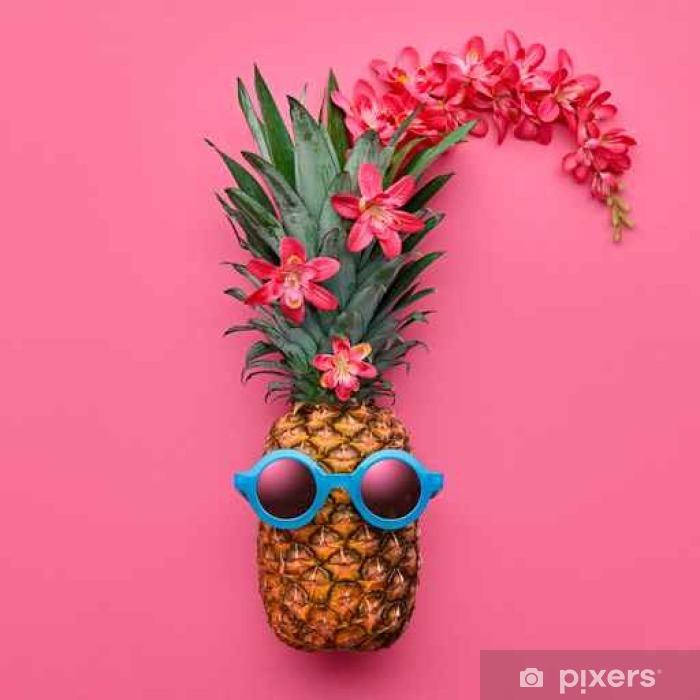 25b8d8efb Mural de Parede em Vinil Pineapple Fruit Fashion Hipster. Hot Summer Beach  Vibes. Festa de verão humor. Abacaxi tropical com óculos de sol.