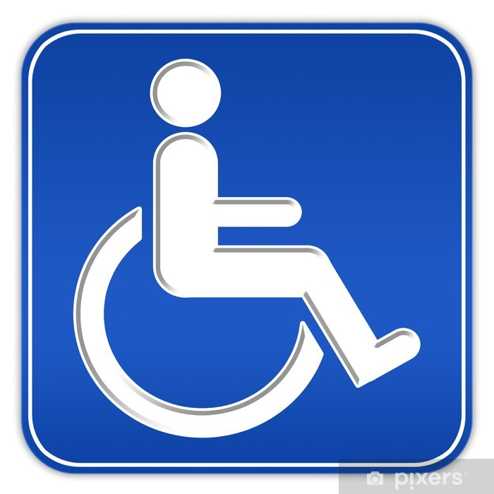 Blue Wheelchair Square - Pixerstick Handicap With Sticker Sign