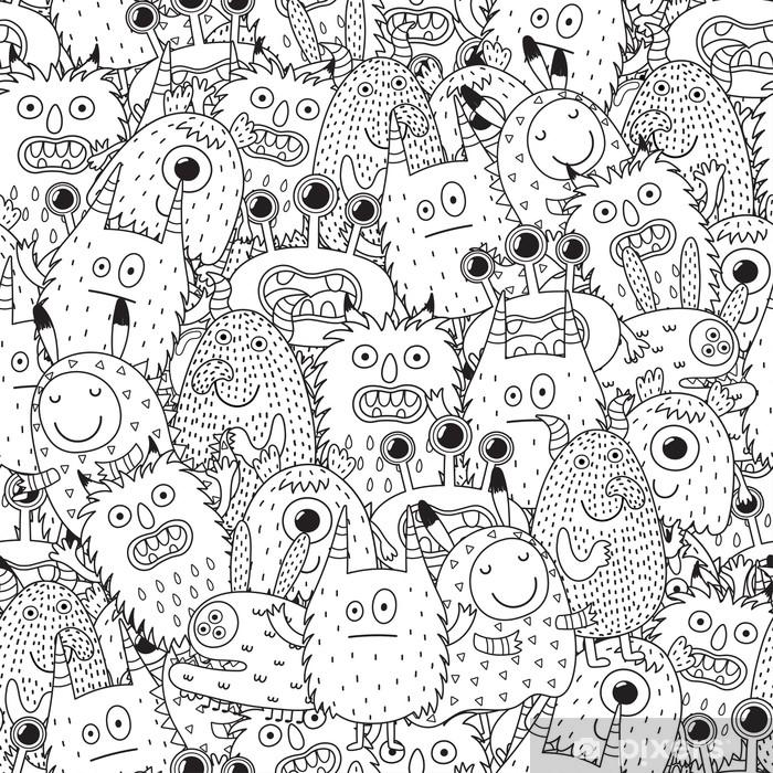 Vinilo Pixerstick Monstruos divertidos de patrones sin fisuras para ...