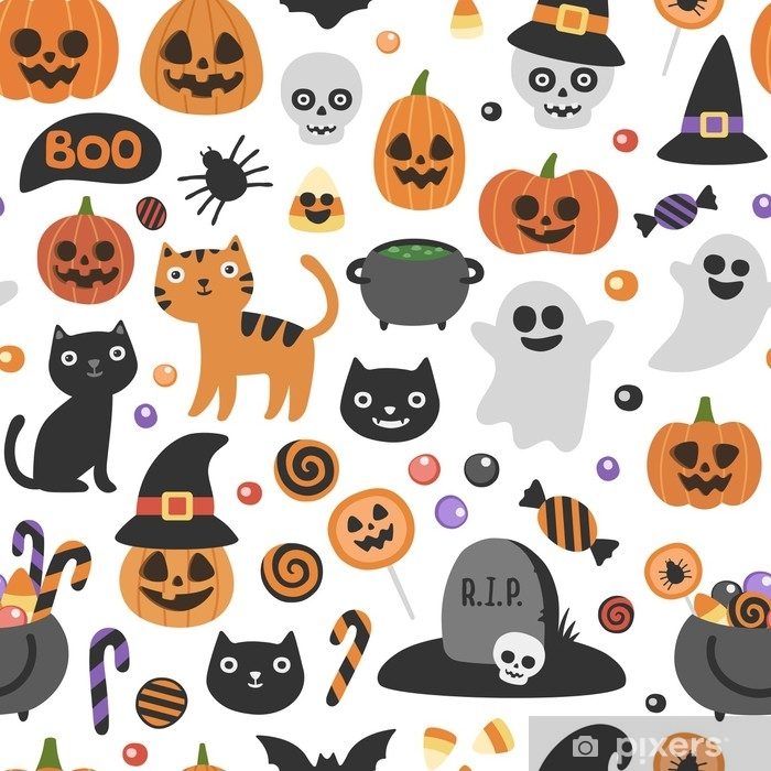 Vector Cute Seamless Halloween Pattern Smiling And Funny Cartoon Characters Pumpkin Ghost Cat Bat Candy Jar Wrapping Paper Wallpaper Repeating Background Wall Mural Pixers We Live To Change
