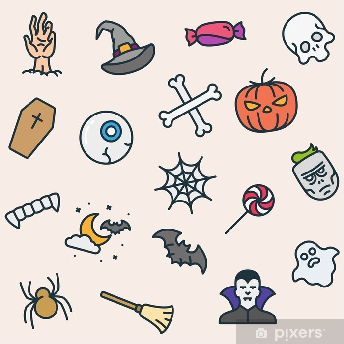 Papier peint Icônes de halloween modèle sans couture couleur minimaliste ligne plate contour ...