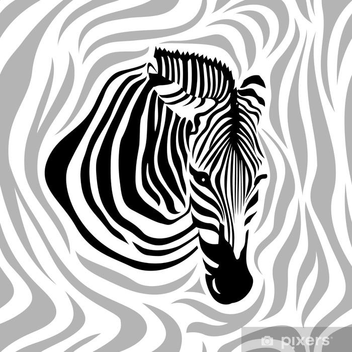 f2c10845c0973e Fototapeta winylowa Wzór głowy zebry. czarny, szary i biały paski,  ilustracji wektorowych na białym tle. tekstury skóry zwierząt wydruku.