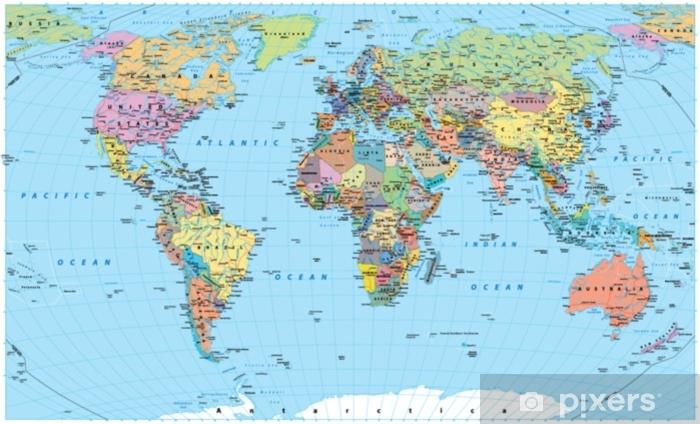 Fototapeta Kolorowa Mapa Swiata Granice Kraje Drogi I Miasta