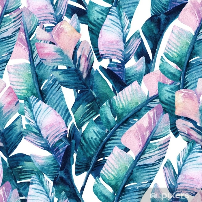 Poster Nahtloses Muster des Aquarellbananenblattes. - Pflanzen und Blumen