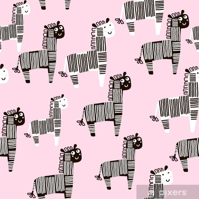 a67c6b867 Fototapet av vinyl Kreativt sømløst mønster med sebra. barnslig tekstur for  stoff, tekstil. vektor bakgrunn