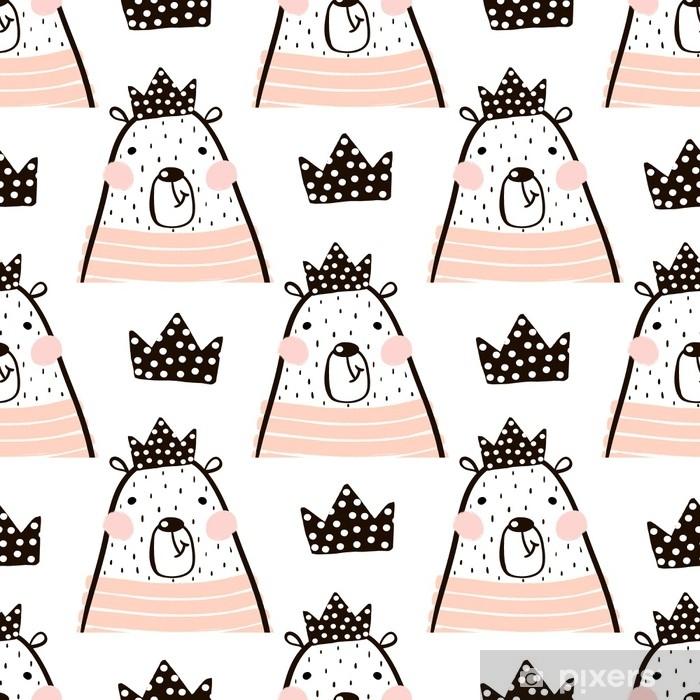 cca341947 Fototapet av vinyl Sømløs mønster med søte jenter bjørn prinsesse. perfekt  for stoff, textile.vector bakgrunn