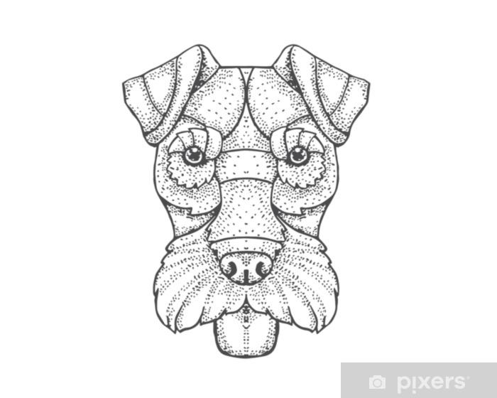 fotobehang detail bezaaid stijl hand tekenen hond illustratie - fox