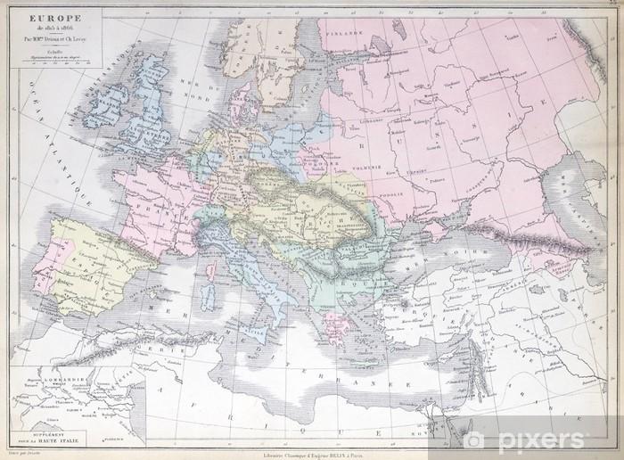 Karta Europa 1815.Fototapet Gammal Karta Av Europa 1815 1866 Publicerad I 1883