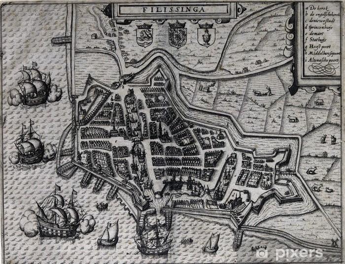 Sticker Pixerstick Vieux carte de Vlissingen, Pays-Bas, 17ème siècle - Thèmes