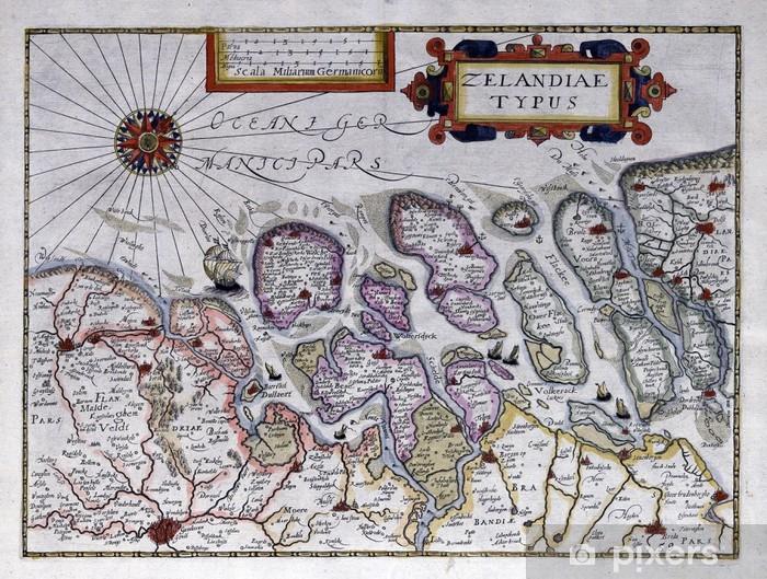 Zeeland Karte Niederlande.Fototapete Alte Karte Von Zeeland Niederlande 17 Jahrhundert