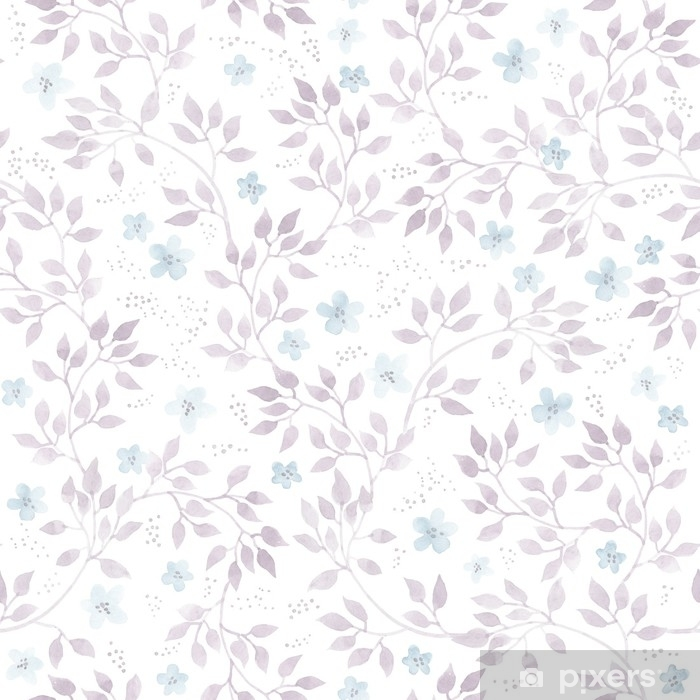 Subtle ditsy flowers and leaves. Seamless pastel floral pattern. Watercolor Pixerstick Sticker - Plants and Flowers