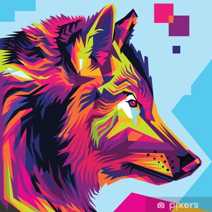 Wolf Head Pop Art Illustration Style Wall Mural Pixers