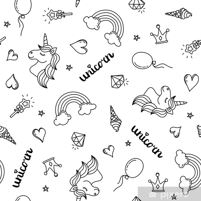 Carta Da Parati Unicorno Arcobaleno E Cuori Seamless Pattern Mano