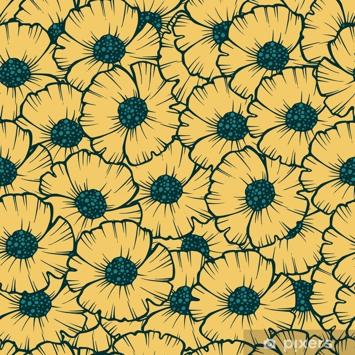 Seamless pattern poppy vector illustration for fabric, Wallpaper, gift wrapping, postcards , greeting and invitation. Pillow Cover - Plants and Flowers
