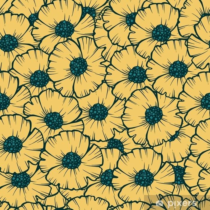 Taie d'oreiller Illustration vectorielle de pavot modèle sans couture pour le tissu, papier peint, emballage cadeau, cartes postales, salutation et invitation. - Plantes et fleurs