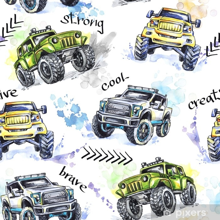 Watercolor Seamless Pattern Cartoon Monster Trucks Colorful Extreme Sports Background 4x4 Vehicle Suv Off Road Lifestyle Man S Hobby Transport Wall Mural Pixers We Live To Change